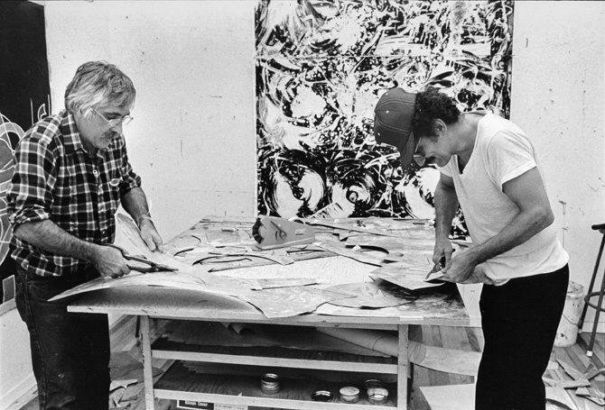 Kenneth Tyler and Frank Stella cutting etched magnesium plates for the Swan Engravings series