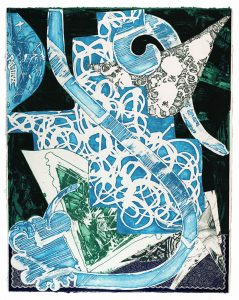 Frank Stella Swan Engraving Blue, Green, Grey, 1985 from the Swan Engravings Series