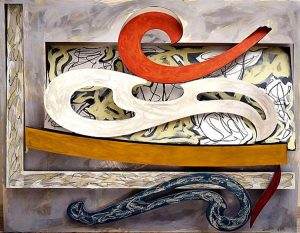 Frank Stella Eskimo Curfew, 1976, Litho crayon, etching, lacquer, ink, glass, acrylic paint, and oil stick on aluminum , Portland Art Museum