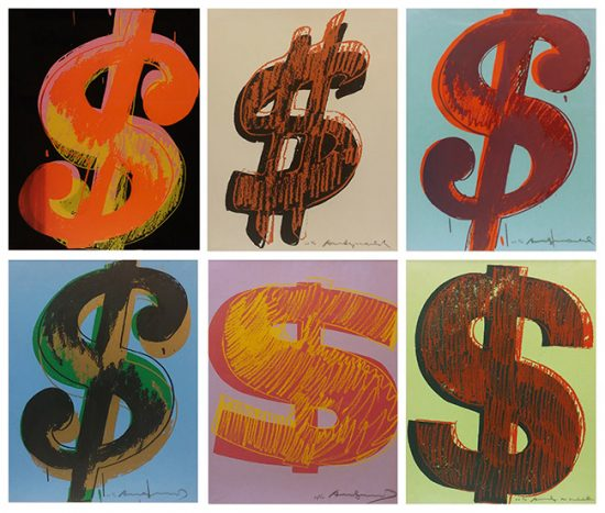 Andy Warhol Screenprint $ (1) 1982, Portfolio of six works, FS II. 274-279