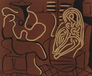 Pablo Picasso Linocut, Femme dans un fauteuil et guitarist (Woman in a Chair and Guitarist), 1959