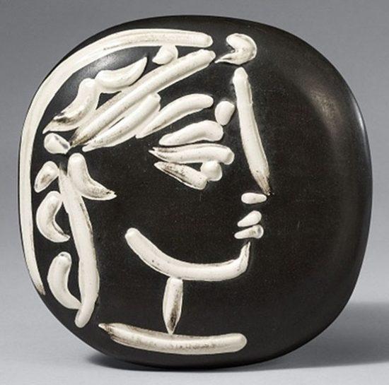 Pablo Picasso Ceramic, Ceramic, Profil de Jacqueline (Jacqueline's Profile), 1956