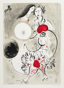 Marc Chagall Lithograph, Le Cochet Gris (The Grey Rooster), 1950