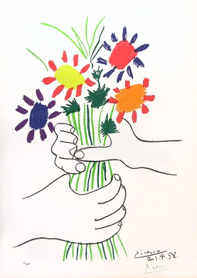 Pablo Picasso Lithograph, Bouquet of Peace, 1958