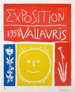 Pablo Picasso Linocut, Exposition Vallauris, 1958