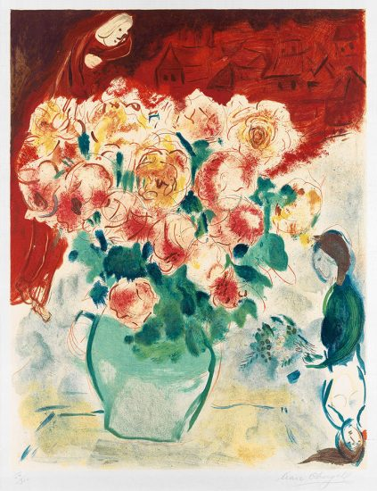 Marc Chagall Lithograph, Le Bouquet (The Bouquet), 1955
