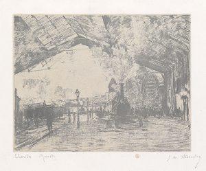 Claude Monet Lithograph, La Gare Saint –Lazare, le train de Normandie (Arrival of the Normandy Train), 1894