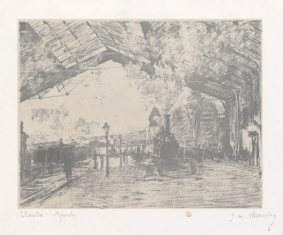 Claude Monet Lithograph, La Gare Saint –Lazare, le train de Normandie (Arrival of the Normandy Train), 1894