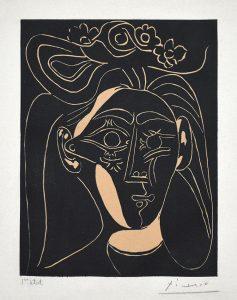 Pablo Picasso Linocut, Jacqueline au chapeau à fleurs I (Jacqueline with a Flowered Hat I), 1962