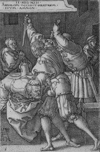 Heinrich Aldegrever Engraving, Absalom Killing Amon, 1540