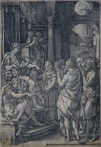 Heinrich Aldegrever Engraving, Susanna Accused of Adultery, 1555