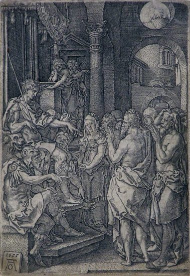 Heinrich Aldegrever Lithograph, Susanna Accused of Adultery, 1555