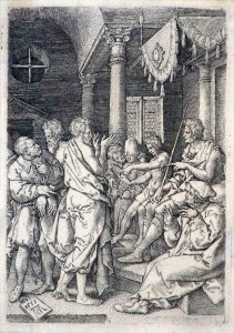 Heinrich Aldegrever Engraving, Two Elders before the Judge, 1555