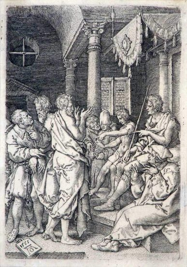 Heinrich Aldegrever Engraving, Two Elders before the Judge, 1555