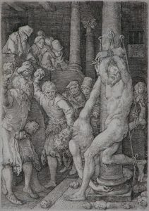 Heinrich Aldegrever Engraving, And they are stoned by the people (From the Story of Susanna), 1555