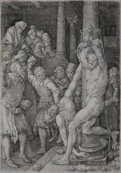 Heinrich Aldegrever Lithograph, And they are stoned by the people (From the Story of Susanna), 1555