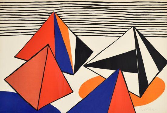 Alexander Calder Lithograph, Pyramids in a Landscape