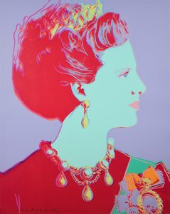 Andy Warhol Screen Print, Reigning Queens Series, Queen Margrethe II of Denmark (Violet), 1985