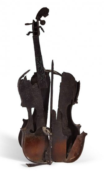 Arman Sculpture, Untitled (Burnt violin with bow), 2004