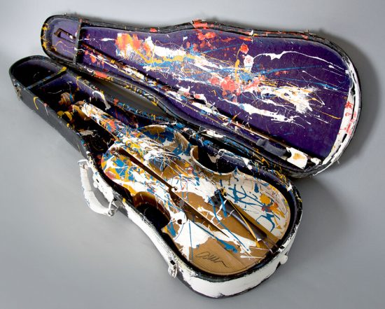 Arman Sculpture, Painted Violin and Case