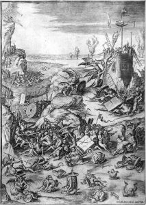 Hieronymus Bosch Engraving, The Last Judgment (Triptych center panel)