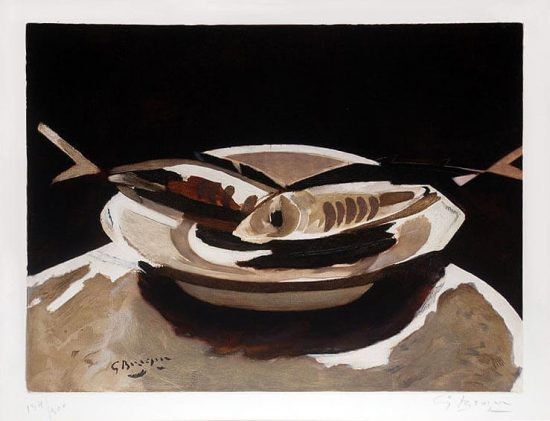 Georges Braque Lithograph, Poissons (Fish), c. 1956