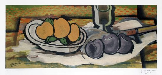 Georges Braque Lithograph, Nature morte aux fruits, 1950