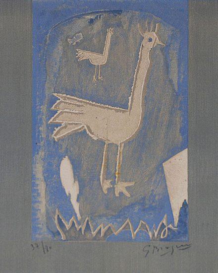 Georges Braque Lithograph, Le coq, 1952