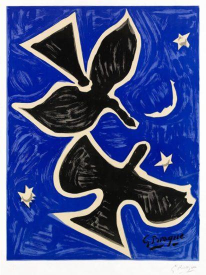 Georges Braque Lithograph, Deux Oiseaux (Richesse de la France), 1961