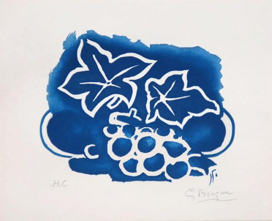 Georges Braque Lithograph, Août: Feuilles et Raisins (August: Leaves and Grapes), 1958