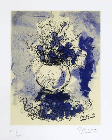 Georges Braque Lithograph, Bouquet de Fleurs à L'aquarelle (Bouquet of Flowers), 1957