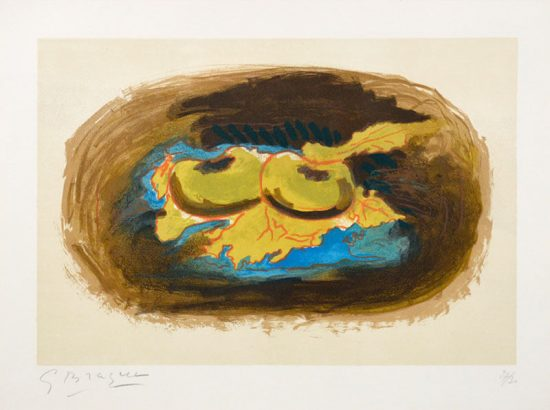 Georges Braque Lithograph, Les Pommes et Feuilles (Apples and Leaves), 1958