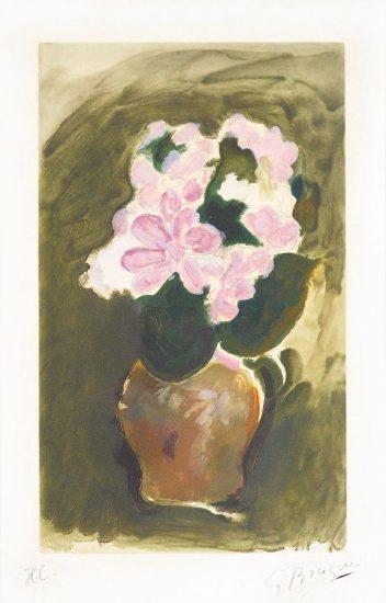 Georges Braque Etching, Les Fleurs Violets (Purple Flowers), c. 1960