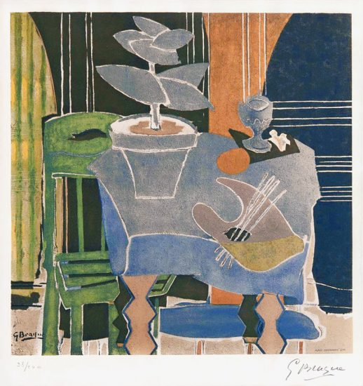 Georges Braque Lithograph, Nature Morte a la Palatte (Still life and the Palette), 1960