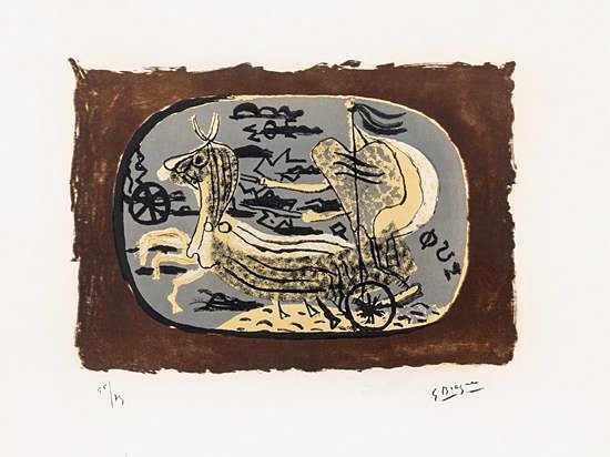 Georges Braque Lithograph, Phaéton, Char I (Phaethon, Chariot I), 1945