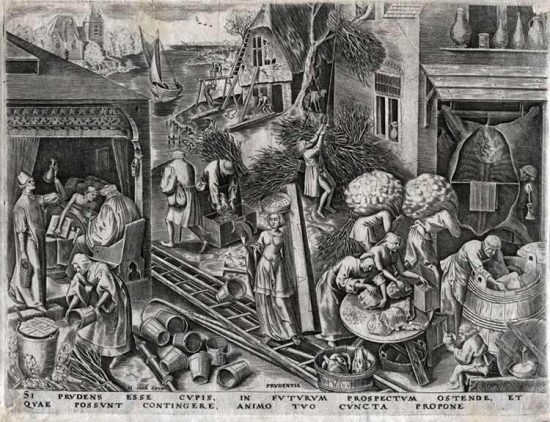Pieter Brueghel the Elder Lithograph, Prudence from The World of Seven Virtues, c.1559