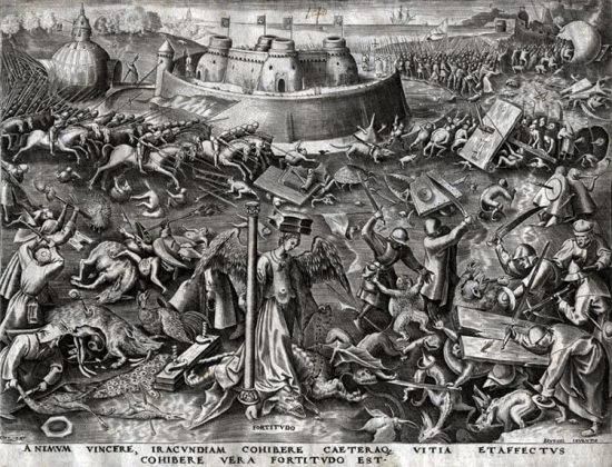 Pieter Brueghel the Elder Lithograph, Fortitude from The World of Seven Virtues, c.1560