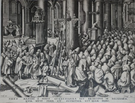 Pieter Brueghel the Elder Lithograph, Faith from The World of Seven Virtues, c.1559