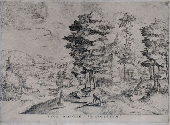 Pieter Brueghel the Elder Engraving, The Flight Into Egypt, 1553-57