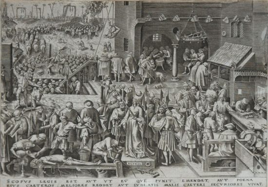 Pieter Brueghel the Elder Lithograph, Justice from The World of Seven Virtues, c.1559