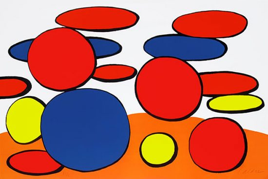 Alexander Calder Lithograph, Bulles Rouge et Blue (Red and Blue Bubbles), c. 1969