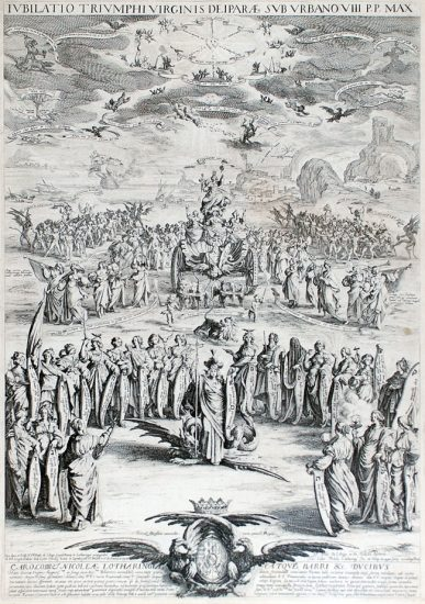 Jacques Callot Lithograph, La Triomphe de la Vierge, ou Petite Thèse (Triumph of the Virgin or Small Thesis), 1625