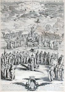 Jacques Callot Engraving, La Triomphe de la Vierge, ou Petite Thèse (Triumph of the Virgin or Small Thesis), 1625