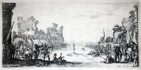 Jacques Callot Lithograph, The Martyrdom of Saint Sebastian, c. 1634