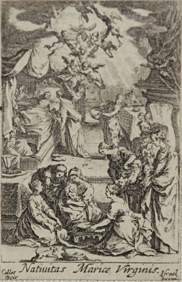 Jacques Callot Lithograph, Birth of the Virgin from Life of the Virgin, c. 1632 - 1633