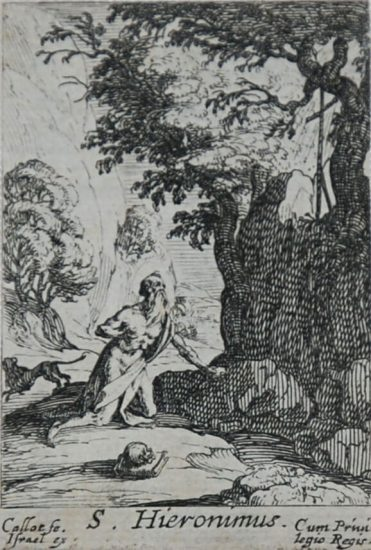 Jacques Callot Lithograph, S. Hieronimus from The Penitent, c. 1632