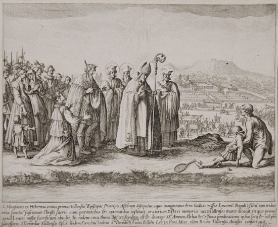 Jacques Callot Lithograph, St. Mansuetus Restoring Life to the Son of Leucorus, c. 1622 - 1627