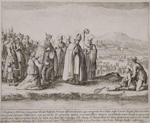 Jacques Callot Engraving, St. Mansuetus Restoring Life to the Son of Leucorus, c. 1622 - 1627