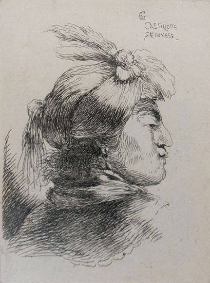 Giovanni Benedetto Castiglione Etching, Man Wearing a Small Turban Ornamented with Plumes and Ribbon, Facing Right