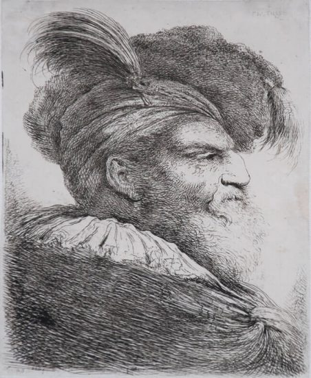 Giovanni Benedetto Castiglione Etching, Man with a Long Beard, Wearing a Headdress and Fur Cap, Facing Right, c. 1640
